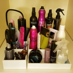 Hair care products arranged in a Stadium Arranger and Tool Tower.