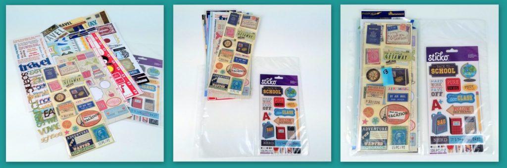 13 Stickers in ScrapRack pocket page