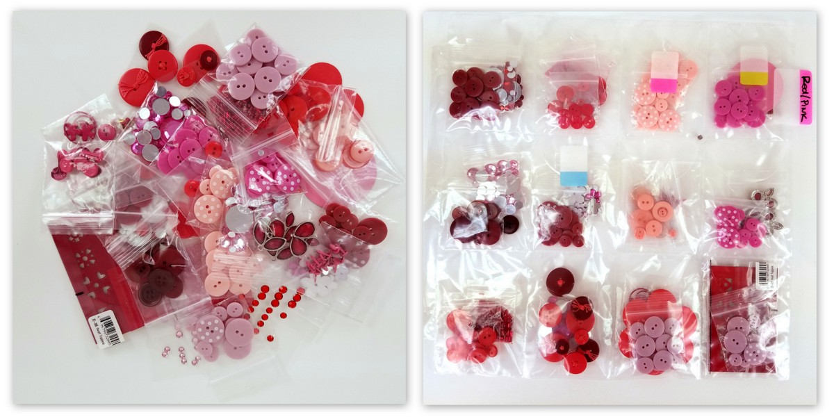 Small embellishments in ziplock type baggies.