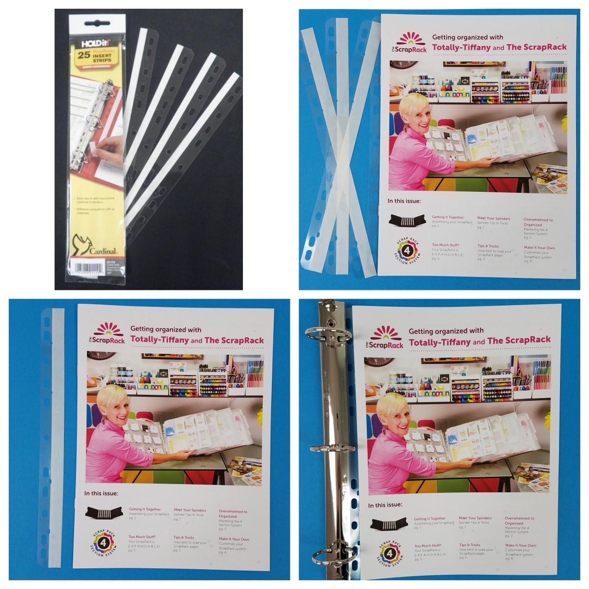 Use Ring Binder Insert strips in your ScrapRack.