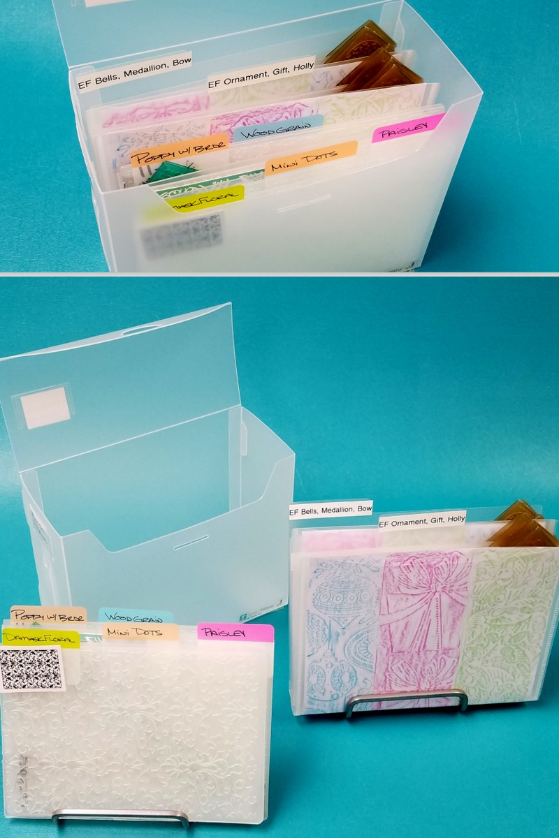 Organize embossing folders in files or with label tabs