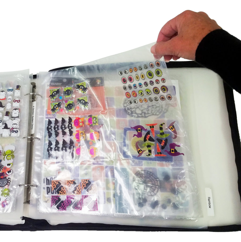 Turn pages from the upper right to keep supplies neatly in the pockets.