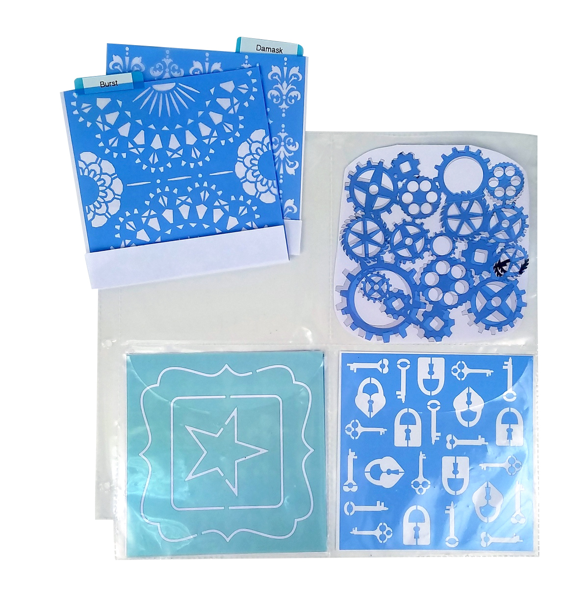 Organize 6x6 stencils for card making and scrapbooking.Organizers for stencils