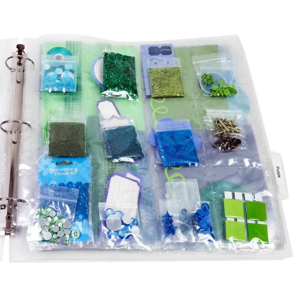 Organize embellishments, trader's twelve storage Page, The ScrapRack, P44