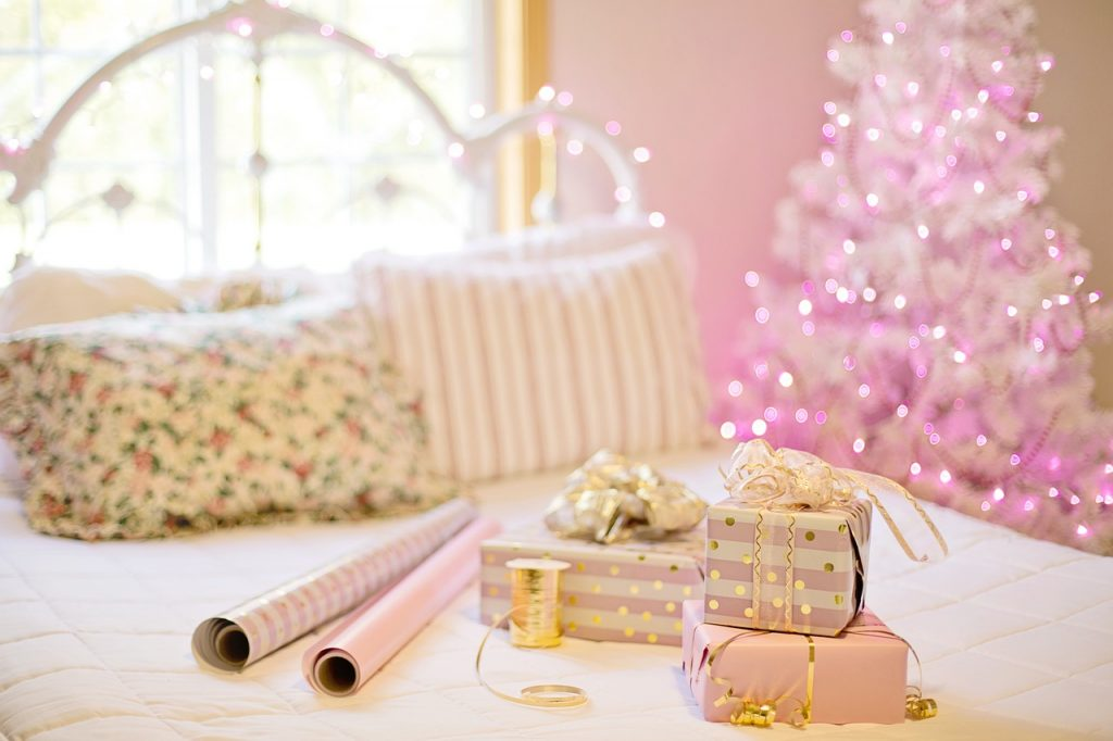 bright pink christmas gift wrapping