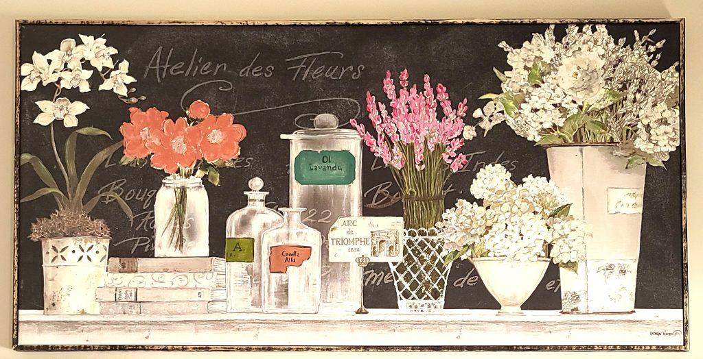 after painted flower custom home decor artwork