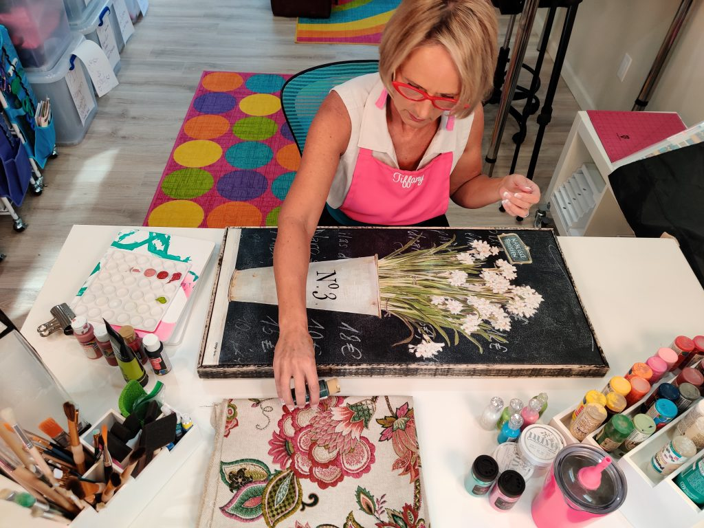 woman painting custom home decor