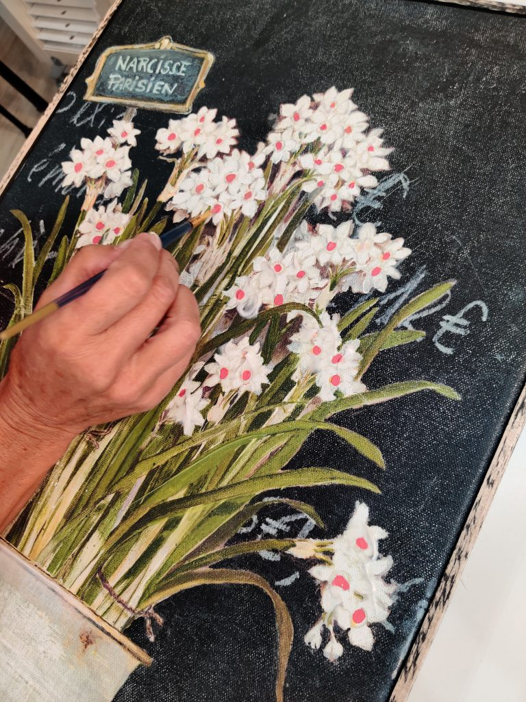 painting flowers on canvas