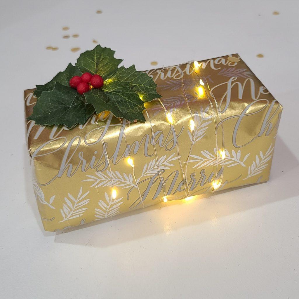 christmas present with lights