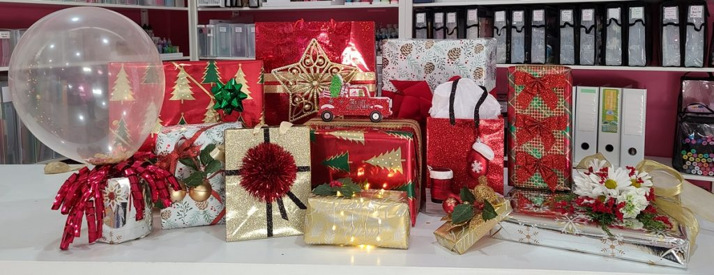 group of wrapped gifts