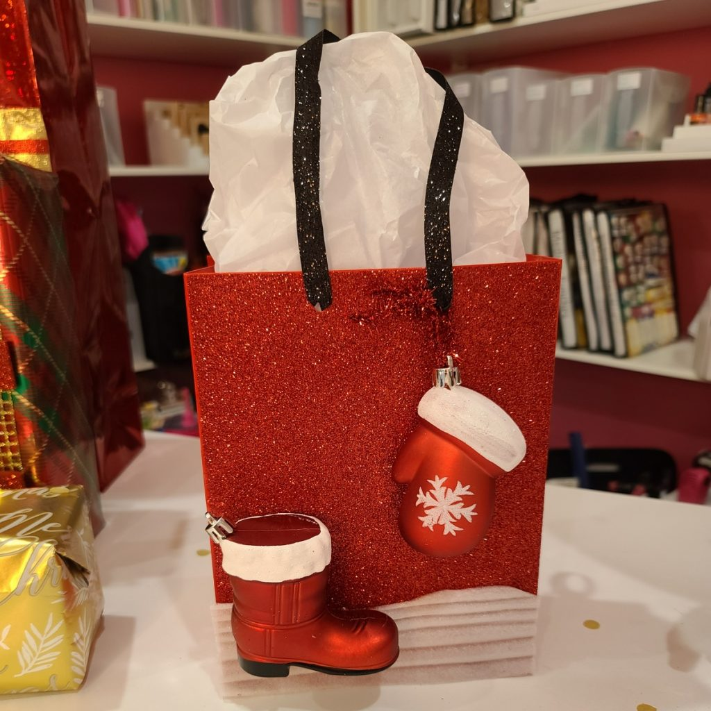 gift bag decorated with ornaments