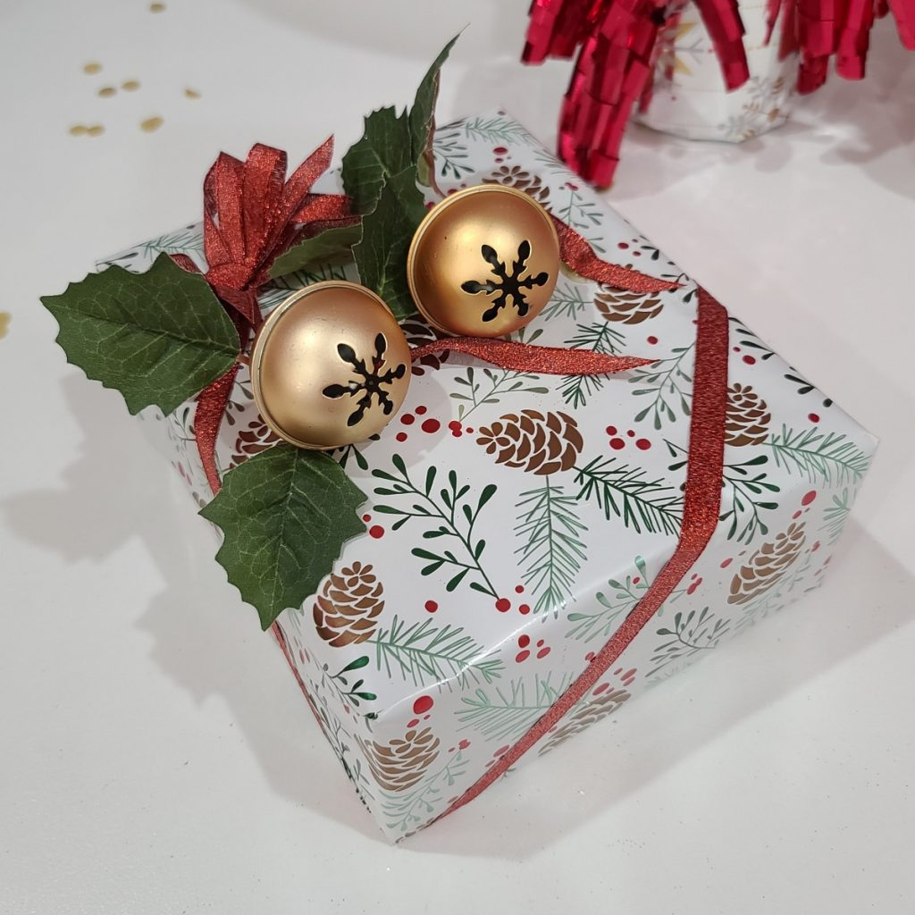 wrapping gifts with bells